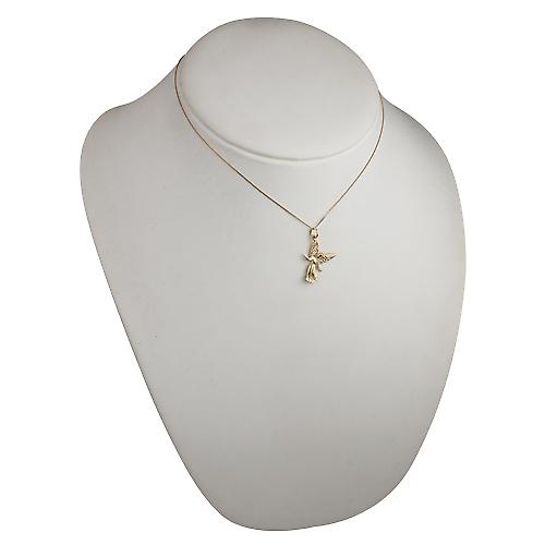 9ct Gold 25x18mm welcoming Guardian Angel Pendant with a curb Chain 16 inches Only Suitable for Children