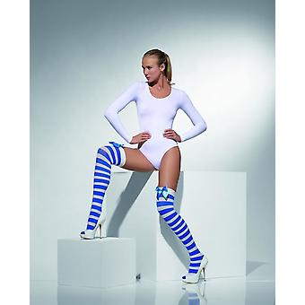 Womens Blue & White Striped Opaque Hold-Ups With Bows Fancy Dress Accessory