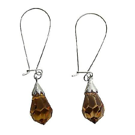 Lite Smoked Topaz Czech Crystal Teardrop Sterling Silver Hoop Earrings