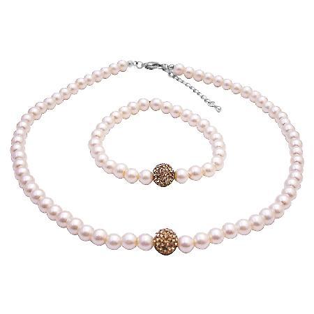 Flower Girl Nickle Free Ivory w/ Lite Colorado Necklace Bracelet Set