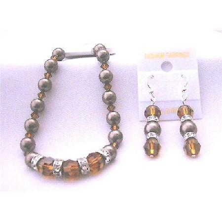 Chocolate Pearl Bracelet Earrings Genuine Swarovski Smoked Topaz Crystal & Brown Pearls