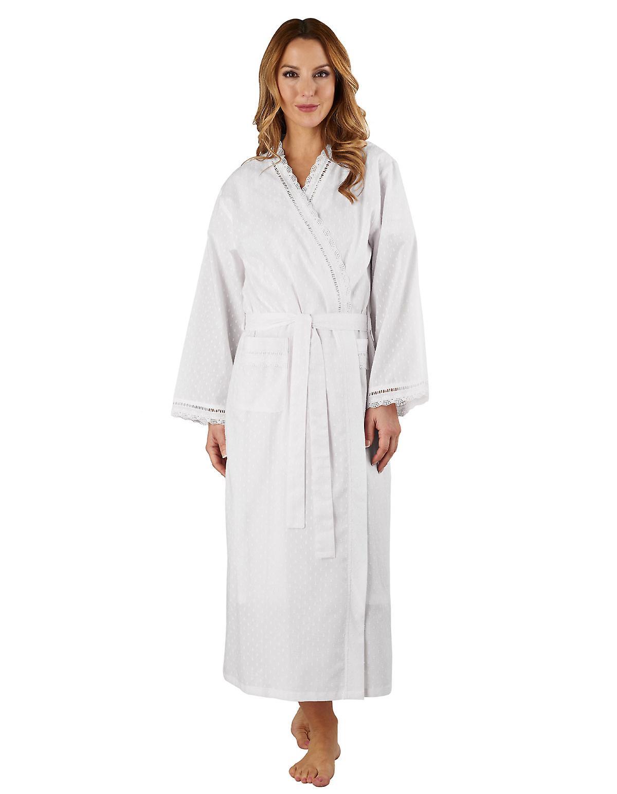 Slenderella HC3234L femmes& 039;s Cotton Woven blanc Robeing Gown Loungewear Bath Robe Kimono