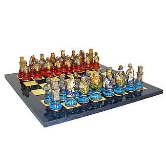 Camelot Busts Acrylic Base Chess Set Blue Board