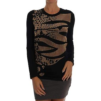 Versace Jeans Black Gold Studded Stretch Pullover Sweater -- SIG6027632