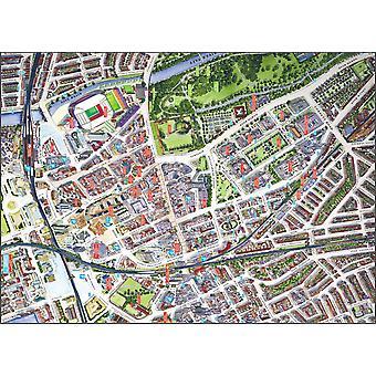 Городские улицы карта Кардифф 400 кусок головоломки 470 x 320 мм (hpy)