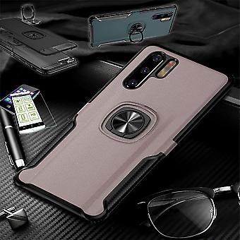 Für Huawei P30 Lite Hybrid Magnet Metall Ring Case Pink + Hartglas Tasche Hülle Cover Hülle