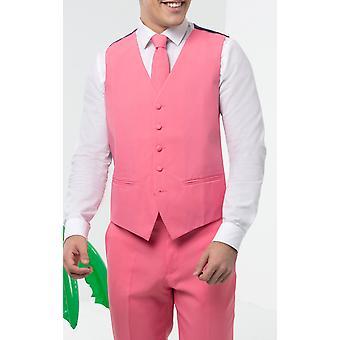 d/spoke mens Candy Pink vest regular fit 4 knop nieuwigheid partij