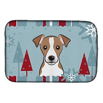 Vacances d'hiver Jack Russell Terrier plat Mat de séchage