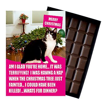 Black And White Tuxedo Cat Christmas Gifts Xmas Presents for Cat Lovers Chocolate Greeting Card