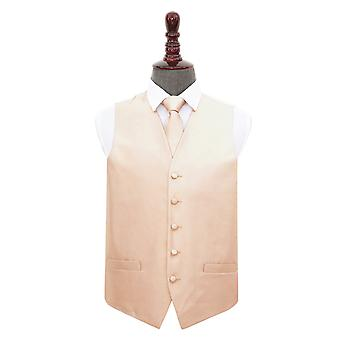 Champagne Solid Check Wedding Waistcoat & Tie Set