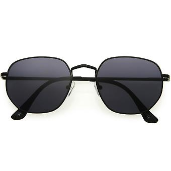 Small Classic Angled Neutral Color Flat Lens Metal Geometric Sunglasses 51mm