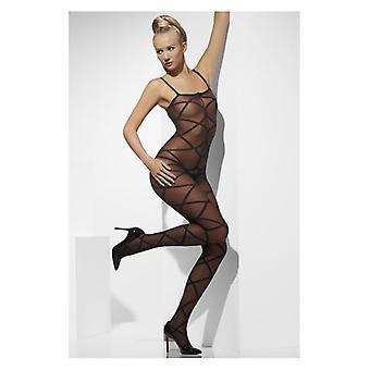 Womens Sheer calza corpo nero Crotchless Fancy Dress Accessory