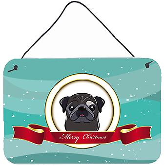Black Pug Merry Christmas Wall or Door Hanging Prints BB1573DS812