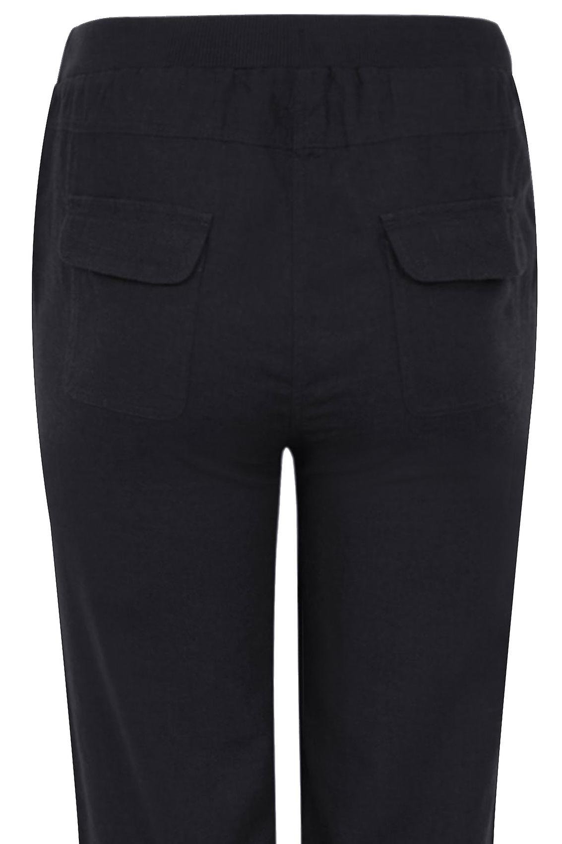 Black Linen Mix Full Length Trousers With Four Pockets 30