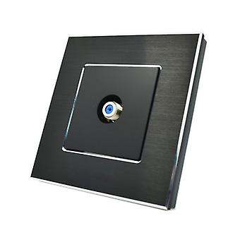 I LumoS Luxury Black Brushed Aluminium F Screw Type Satellite Single Socket