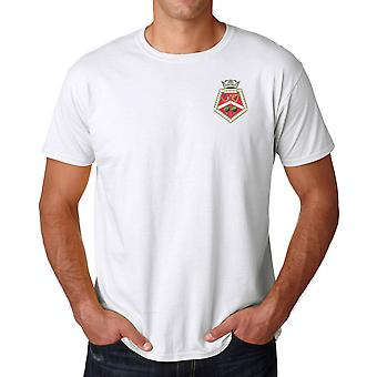 HMS Sir Tristram bordado Logo - oficiales Marina de guerra real Ringspun T Shirt