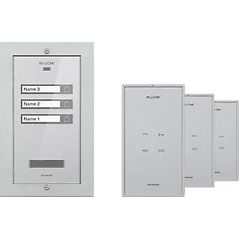 Door intercom Corded Complete kit Bellcome KIT.APA.3F002.BLS 3 flat building Silver