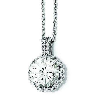 Sterling Silver Round CZ Necklace - 18 Inch