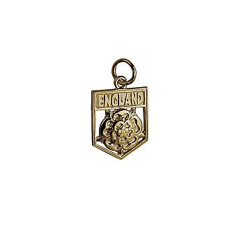 9ct Gold 17x14mm England Badge Pendant or Charm