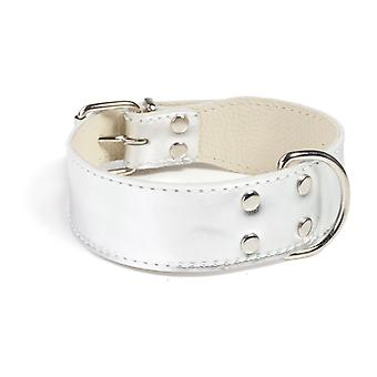 Doggy Things Plain Leather Dog Collar Silver 30cm
