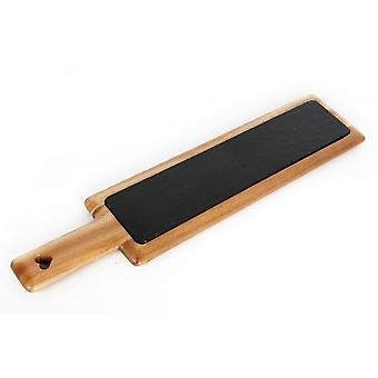 55X12CM ACACIA WOOD SLATE BOARD SERVING TRAY BLACKBOARD WITH HANDLE