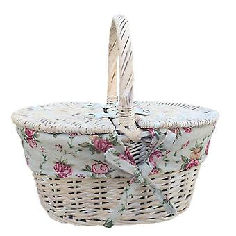 Childs White Wash Lidded Hamper with Red Check Lining