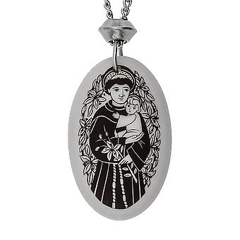 Handmade Saint Anthony Oval Shaped Porcelain Pendant ~ 20 inch Chain