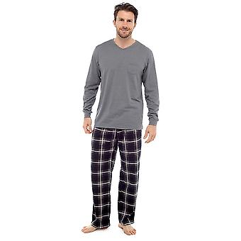 Mens Wolf & Harte Quality Jersey Top And Check Print Bottom Pyjamas Lounge Wear
