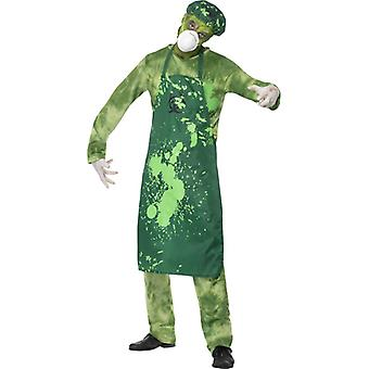 Biohazard green pants man costume top apron Hat mask and hand size M