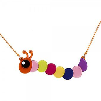 Camille Orange And Multi-Coloured Caterpillar Necklace
