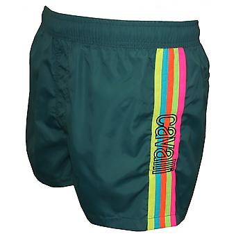 Just Cavalli Rainbow Side Stripe Swim Shorts, Teal Blue