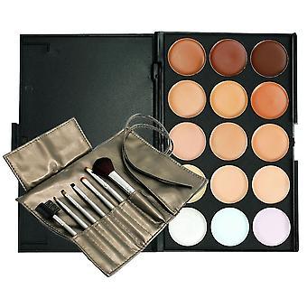 Boolavard® TM 15 belle couleur Palette Correcteur anticernes Camouflage fard à paupières avec 7pcs composent brosse