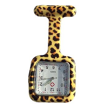 Boolavard® TM Nurses Fashion Coloured Patterned Silicone Rubber Fob Watches - Square Leopard