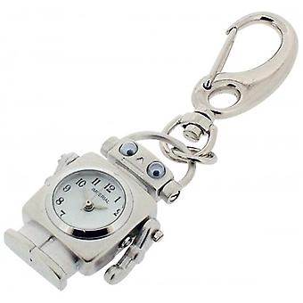 Gift Time Products Robot with Moving Eyes Clock Key Ring - Silver