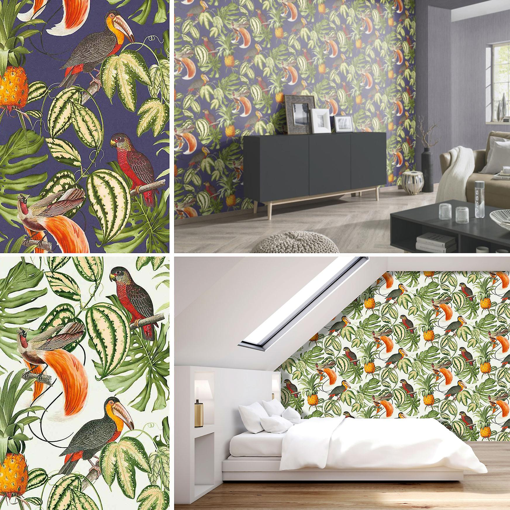 papier peint paradisio perroquet toucan tropical arbres exotiques fleur vinyle erismann fruugo. Black Bedroom Furniture Sets. Home Design Ideas
