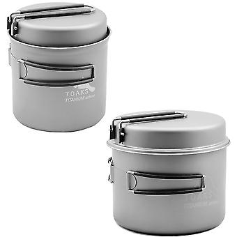 TOAKS Titanium Cook Pot with Pan and Foldable Handles - Outdoor Camping