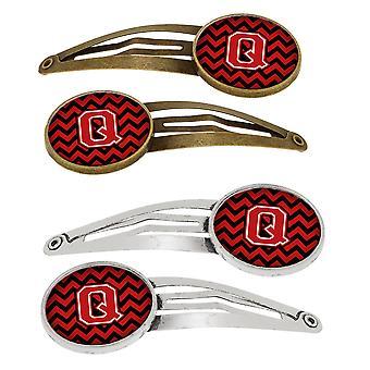 Letter Q Chevron zwart en rood Set van 4 haarspeldjes Hair Clips