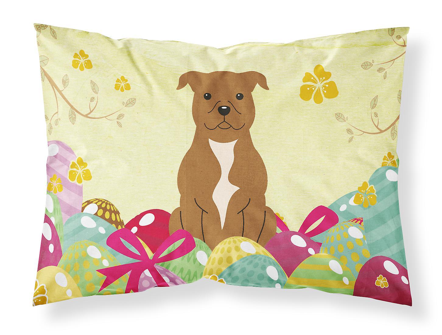 staffordshire Terrier Pâques Taie Standard Tissu D'oreiller Bull Brun oeufs Du QrBthCxsd