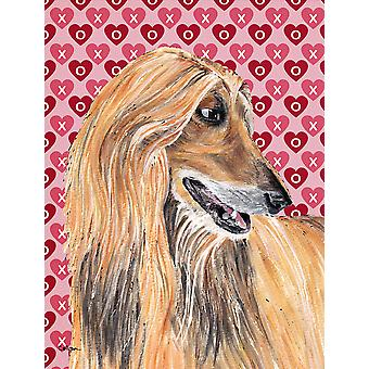 Afghan Hound Hearts Love and Valentine's Day Flag Canvas House Size