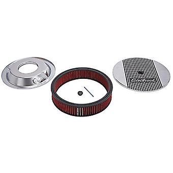 Edelbrock 4268 Elite Series Aluminum Air Cleaner Round 14 x 3 in. Fits All 5 1/8 in. Diameter Carbs 3.125 in. Overall He