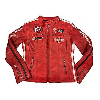 Warson Motors Womens Daytona Red Leather Jacket