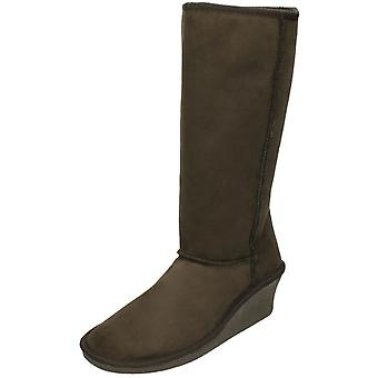 Ladies Spot On Casual Winter Boots L9323 - Brown textile - UK Size 7 - EU Size 40 - US Size 9