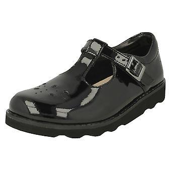 Girls Clarks Classic T-Bar Shoes Crown Wish - Black Patent - UK Size 12.5 F - EU Size 31 - US Size 13 M