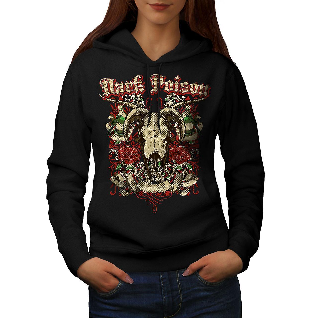 Dark Poison Animal Skull Women Black Hoodie | Wellcoda