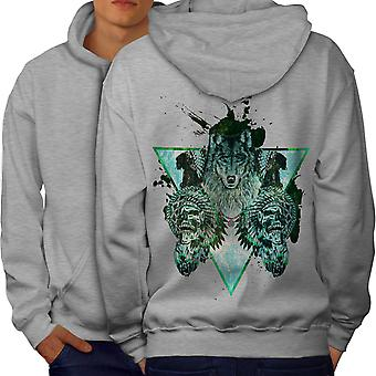 Wolf Skull Beast Animal Men GreyHoodie Back | Wellcoda