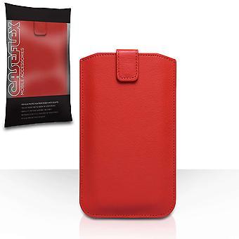 Caseflex PU Auto Return Pull tabblad rijgtasje (L) - rood