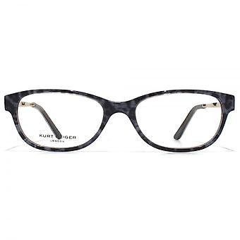 Kurt Geiger Anna Petite Soft Rectangular Acetate Glasses In Black With Grey Leopard Interior