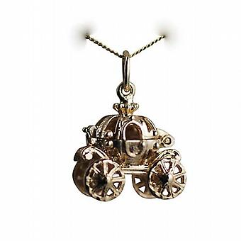 9ct Gold 15x16mm Cinderella coach Charm with a curb Chain 16 inches Only Suitable for Children