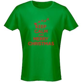 Garder calme et joyeux Noël Noël Womens T-Shirt 8 couleurs (8-20) par swagwear