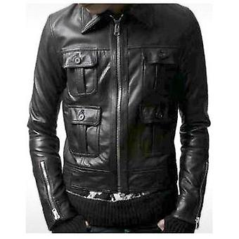 Stanton Mens Leather Bomber Jacket
